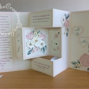 "XL 8"" x 8"" Double Shutter Wedding Card made using various dies including Card making Magic Die Set Christmas Rose by Christina Griffiths, Alt-e-new Layered Rose die set, free with issue 174 of Simply Cards & Papercraft magazine, Altenew - Garden Picks 3D Die Set, Nellie Snellen Multi Frame Cutting Die 060 -Straight Heart, Nesting stitched heart dies, Cheery Lynn Designs Die - Build a Flower Embellishment #2, Spellbinders nesting plain and scalloped hearts dies, Cheery Lynn 'Delicate Lace Script' Alphabet, - craftybabscreativecrafts.co.uk"