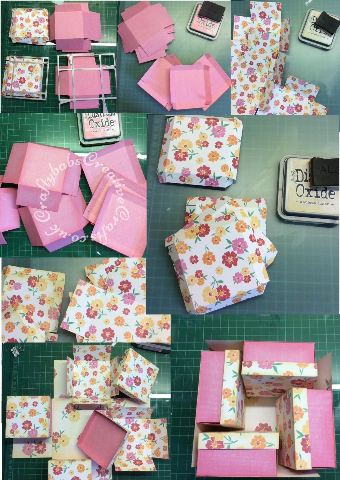 Multiple Exploding Box card made from double sided papers using various dies including; SIMPLY MADE CRAFTS DIE SET MEDIUM EXPLODING GIFT BOX die set. Card Making Magic Die Sets Solid & Overlay Number & Suffix, Altenew 3D Die Set Garden Picks and Crealies Nest-Lies XXL Die Set No 34 Double Stitch Squares. - craftybabscreativecrafts.co.uk