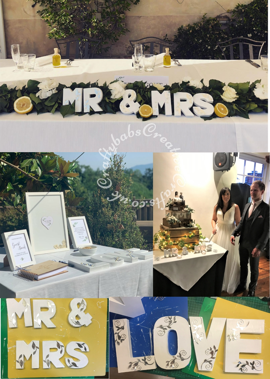 Large L O V E and MR & MRS table decorations made using shop bought brown letters painted white and decorated with silver die cuts using Spellbinders romantic vines dies and varying sizes of flat backed pearl gems. - craftybabscreativecrafts.co.uk