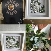 Father of the bride Customised Manchester City waistcoat. Badge purchased from ebay, lettering die cut from felt using Cardmaking Magic Die Solid Alphabet Die set then stitched onto shop bought waistcoat. Bridal Bouquet Wedding Keepsake Picture replicating the flowers included in the brides actual bouquet. Flowers created using various dies including Cheery Lynn Designs - Build A Flower #2 - Petals & Leaves, Cheery Lynn Designs Die Build a Flower Embellishment 2 set, Spellbinders Shapeabilities Foliage Die Set, Spellbinders Rose Creations die set, Spellbinders Die D-Lites - Create a Stargazer Lily, Pokey Stems Memory Box Die, Sue Wilson Dies - Finishing Touches - Spring Foliage, Fuzzy Lemon die balloon bunch, Quickutz/lifestyle Crafts Nesting Balloons Cookie Cutter Dies, Tattered Lace Essential Teardrops (ETL183), Altenew Garden Picks 3D Die Set and Spellbinders D-Lites Blooms Three Die. Lettering created using Gemini Die Set Expressions Uppercase Alphabet, Gemini Die Set Expressions Lowercase Alphabet and Gemini Expressions Metal Die - Numbers set - craftybabscreativecrafts.co.uk