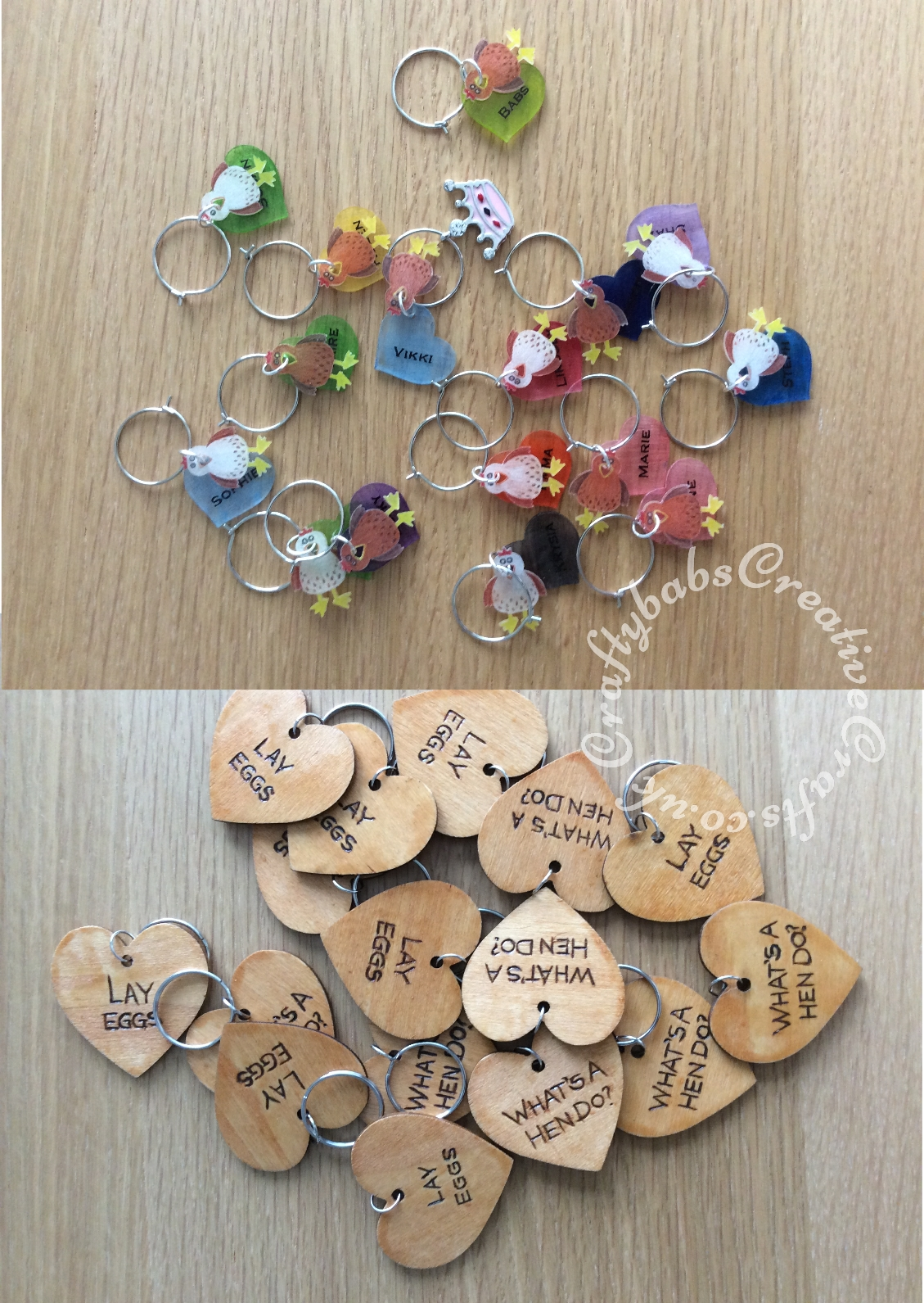 Wooden Heart tags and key rings purchased blank and then personalised with a pyrography tool then varnished. Hens for wine glass charms die cut from shrink plastic using the Sizzix Originals bird die, hearts cut with Sizzix originals heart die and coloured with pencil crayon before shrinking. - craftybabscreativecrafts.co.uk