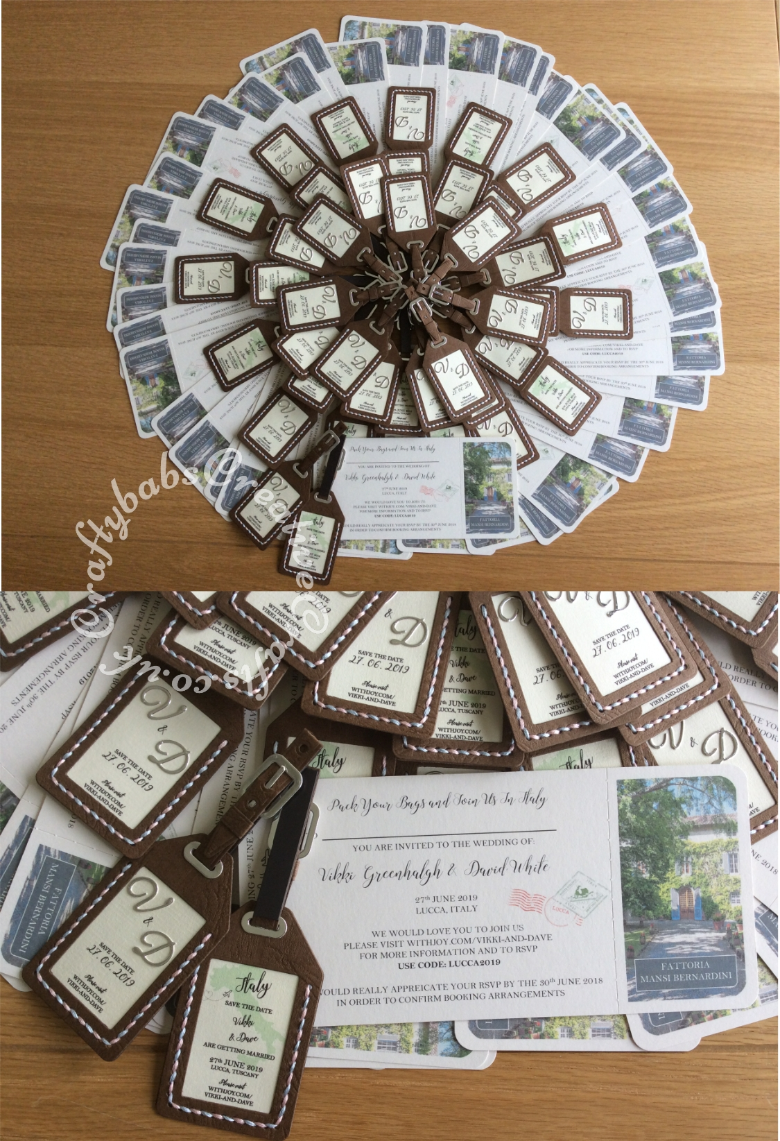 Destination Wedding Save the date fridge magnet luggage tags and boarding passes. Luggage tags made using X cut 9 pc large die set LUGGAGE TAGS, Britannia dies uppercase alphabet dies used for monograms, tag insert printed. Tag halves sewn together using pink and blue embroidery thread. Boarding passes created using Craft arttist professional software then printed and perforated using a perforating blade in my guillotine and a corner rounder punch to finish off. - craftybabscreativecrafts.co.uk