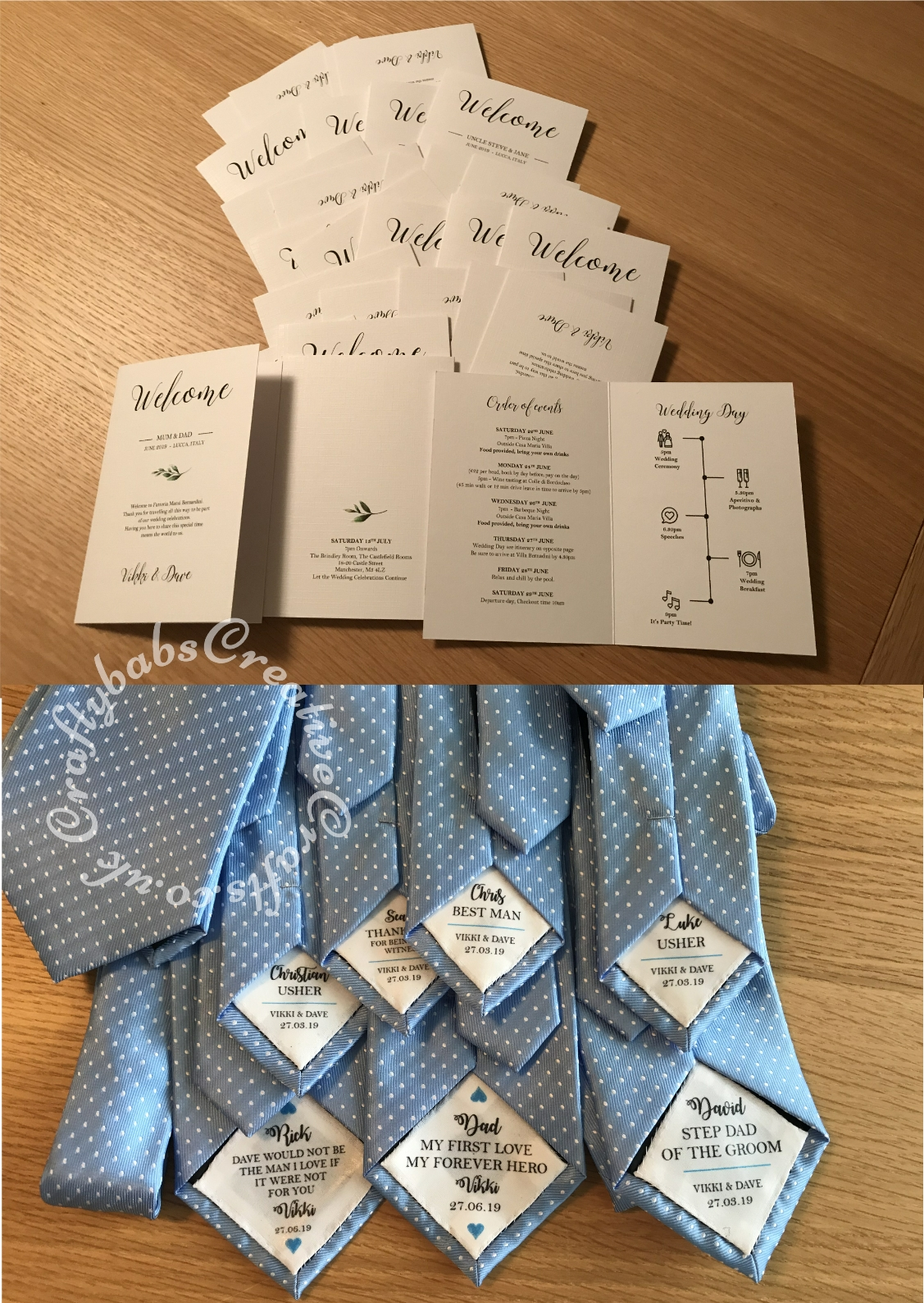Wedding itinerary created in Word then printed onto linen card stock. Special men's tie messages printed onto T shirt transfer paper, ironed onto fabric patches then stitched inside ties. - craftybabscreativecrafts.co.uk