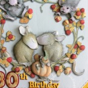 Housemouse 30th Birthday Easel card made using Surpise Creation nested stitched Octagon square dies, Sizzix Sizzlits Fruit Smoothie alphabet & numbers die set. Tattered Lace Sentiments 2014 dies and Joanna Sheen Housemouse Triple CD Rom set - images re-sized with Craft artist professional 2 software printed then decoupaged. mouse eyes, noses and berries accented with glossy accents. - craftybabscreativecrafts.co.uk