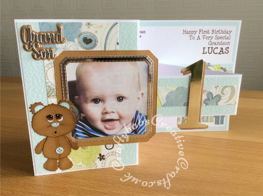 Large A4 Landscape Z fold 1st Birthday card made using Surpise Creation nested stitched Octagon square dies, Sizzix Bigz Sassy Serif Numbers dies, unbranded Bear with parcels die set, unbranded bear die and Paper Boutique Die Set Male Relations Sentiments. - craftybabscreativecrafts.co.uk