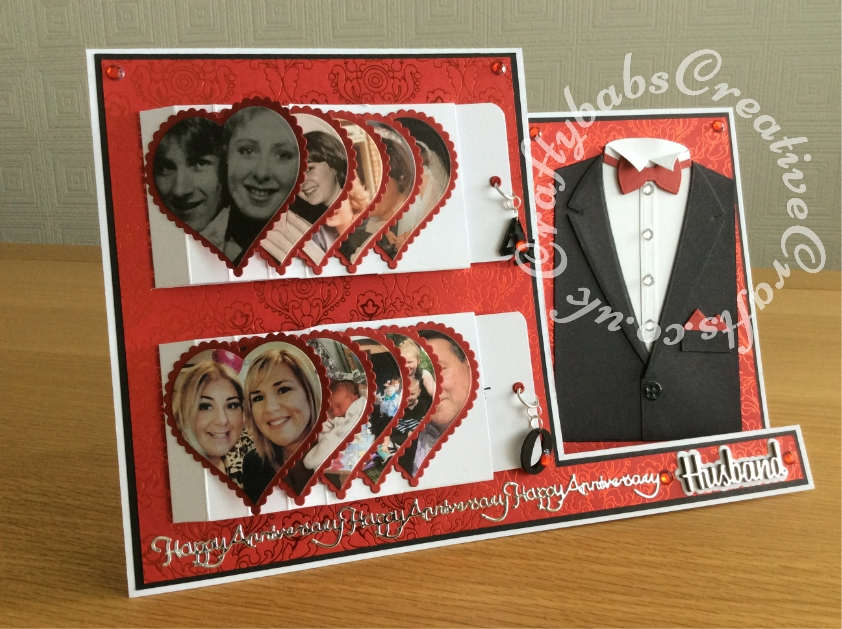 Large A4 Landscape Stepper double waterfall Ruby Wedding anniversary card made using Xcut A5 Suit Card Die Set, Sizzix Shadow box Number dies to cut shrink plastic pull charms on waterfall mechanism., Spellbinders nesting plain and scalloped hearts dies, Tattered Lace Sentiment Borders (ETL132) and Paper Boutique Male Relations Sentiments dies. - craftybabscreativecrafts.co.uk