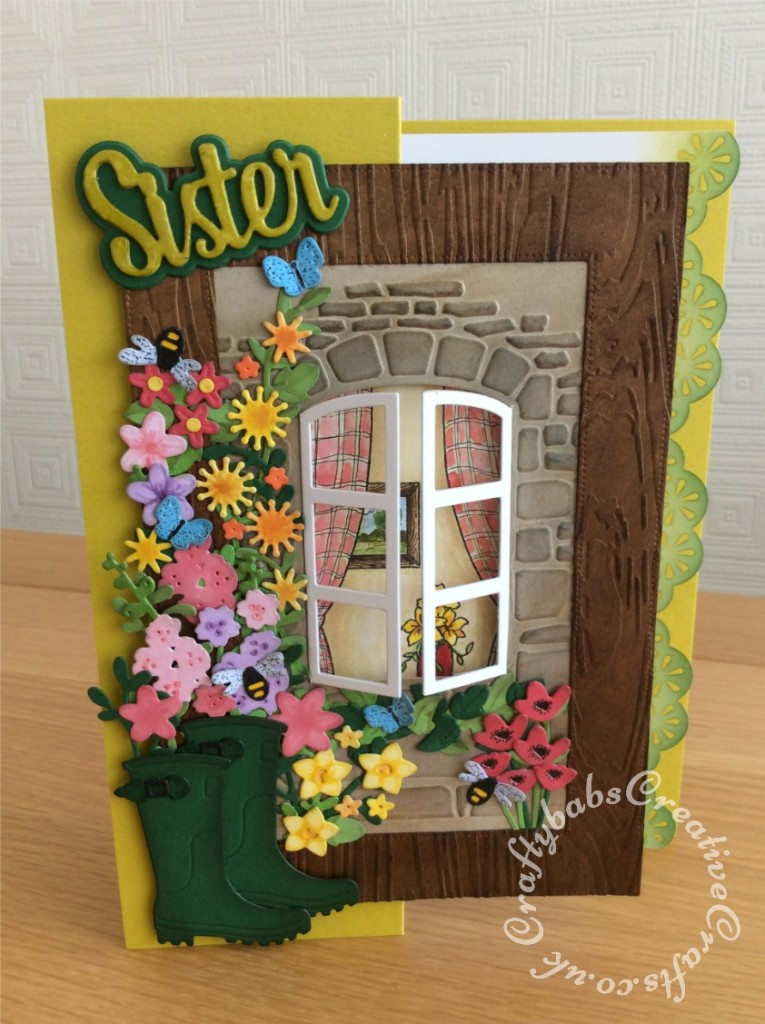 Gardening themed birthday card made using Sizzix Thinlits Rain boot planter 663322 die set, Sizzix impresslits window box set 663585 and Paper Boutique sentiment die. - craftybabscreativecrafts.co.uk