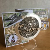 Masculine Birthday Double Z fold Cycling themed card made using a variety of dies including : Lene Design - Die - Shoes - BLD1038, Crealies DOUBLE STITCH Die Set No.33 CIRCLE Cutting Dies, Memory Box - Die - Bicycle Built for Two, Nested Chains (ETL626) – Tattered Lace dies, Docrafts Xcut Chronology Cogs die Set, Emerald upper case alphabet dies, Tim Holtz 3D Texture fades mechanics embossing folder, Bicycle die from Quickutz Denmark die set, and Tattered Lace Happy Birthday sentiment die and stamps from the See-D's Boys Toys stamp set. Backing papers from the Papermania Mister mister range. - craftybabscreativecrafts.co.uk