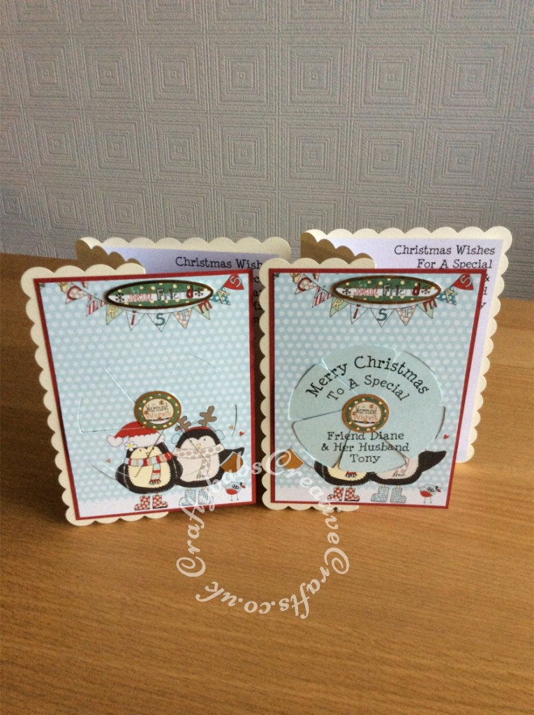 Magic Windows Christmas cards made using card stock from the Hunkdory Cardmaking Collection kit Issue 2 and the Angela Poole Magic Windows Slide & Reveal Die Set - craftybabscreativecrafts.co.uk