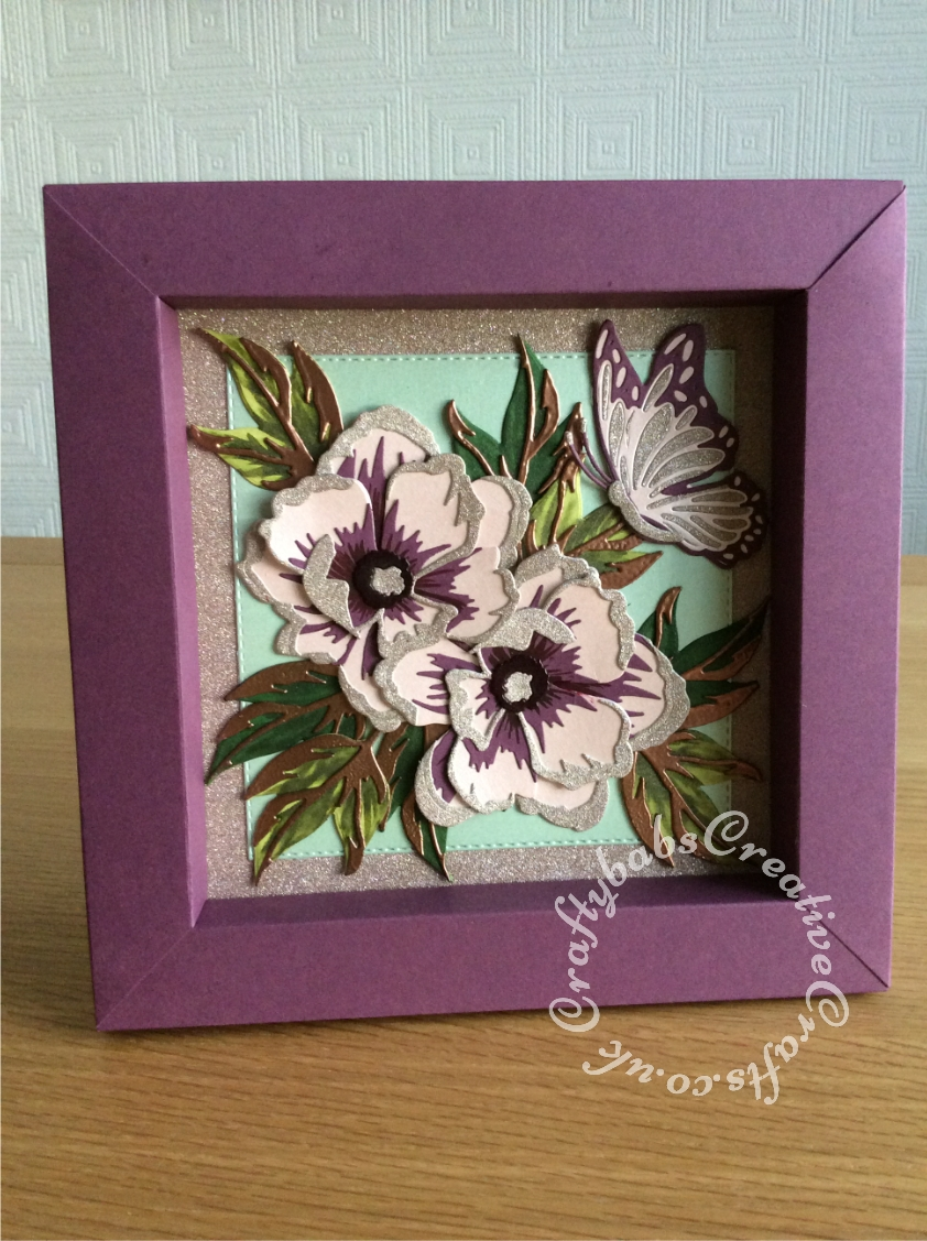 """Shadow Box picture frame birthday card made using various dies including; Spellbinders Adjustable Shadowbox Frame with 1"""" Border Die - S4-981, Spellbinders Indie Line Shapeabilities Dies Layered Monarch dies, Altenew - Dies - Peony Dream 3D and Crealies DOUBLE STITCH Die Set No.34 SQUARE Cutting Dies XXL34, - craftybabscreativecrafts.co.uk"""