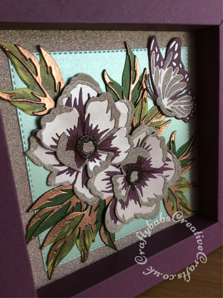 "Shadow Box picture frame birthday card made using various dies including; Spellbinders Adjustable Shadowbox Frame with 1"" Border Die - S4-981, Spellbinders Indie Line Shapeabilities Dies Layered Monarch dies, Altenew - Dies - Peony Dream 3D and Crealies DOUBLE STITCH Die Set No.34 SQUARE Cutting Dies XXL34, - craftybabscreativecrafts.co.uk"