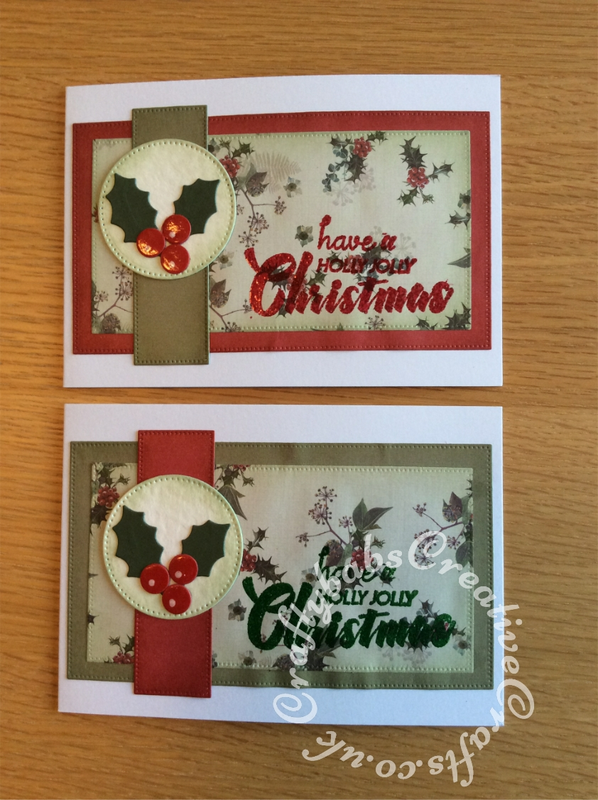 Batch Make Christmas cards made using Pocket full of posies paper pack, Various distress inks & embossing powders, Crafts too presscut pcd45 metal die cutting/embossing Dots circles, Nellie Snellen MFD085 Multi Frame Die dotted circles and Sunrise creation Pierced rectangle dies. Sentiment stamp from Issue 47 of Creative Stamping magazine. - craftybabscreativecrafts.co.uk
