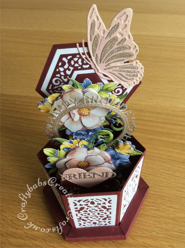 Hexagon pop up box card made using various dies including Spellbinders Indie Line Shapeabilities Dies Layered Monarch dies, Tattered Lace Hexagon Pop Up die set, Tattered Lace Hexagon Box frame die set, Tattered lace Magnolia morning tea cup die, Unbranded stitched heart die, Friend sentiment die from the Sue Wilson Craft Dies set - Necessities Collection In the Tool Box - CED23011 and Craft Dies by Sue Wilson - Perspectives Collection - Happy Birthday Circle (CED8303). - craftybabscreativecrafts.co.uk