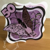 Kinetic Butterfly 50th BIrthday card made using Crafts Too embossing folder, Sizzix originals Shadow Box numbers dies, Jus-Cutz A4 nesting labels dies and Angela Poole Flutterings Die Set – Butterfly. - craftybabscreativecrafts.co.uk