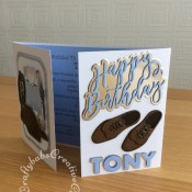 Masculine Clothes & Shoes themed birthday card made using a variety of dies including: Tattered Lace Suited and Booted Die from Issue 55 of The Tattered Lace Magazine, Card Making Magic Die Set Happy Birthday Sentiment, Sizzix Sizzlits Fruit Smoothie Alphabet dies set and unbranded men's shoes die set. - craftybabscreativecrafts.co.uk