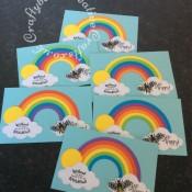 Bee Happy fridge magnets made Creative Dies Plus Die Set Stitched Rainbow, Creative Dies Plus Die set Stitched Sky Icons and Bee die & Stamps free with issue 163 of Papercraft Essentials Magazine. - craftybabscreativecrafts.co.uk