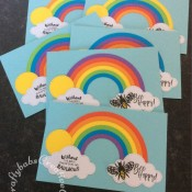 Bee Happy fridge magnets made using Creative Dies Plus Die Set Stitched Rainbow, Creative Dies Plus Die set Stitched Sky Icons and Bee die & Stamps free with issue 163 of Papercraft Essentials Magazine. - craftybabscreativecrafts.co.uk
