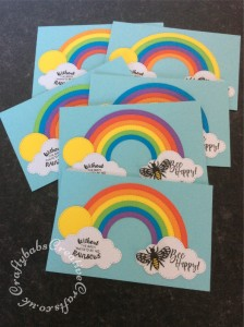 Bee Happy fridge magnets made Creative Dies Plus Die Set Stitched Rainbow, Creative Dies Plus Die set Stitched Sky Icons and Bee die & Stamps free with issue 163 of Papercraft Essentials Magazine. - craftybabscreativecrafts.co.uk
