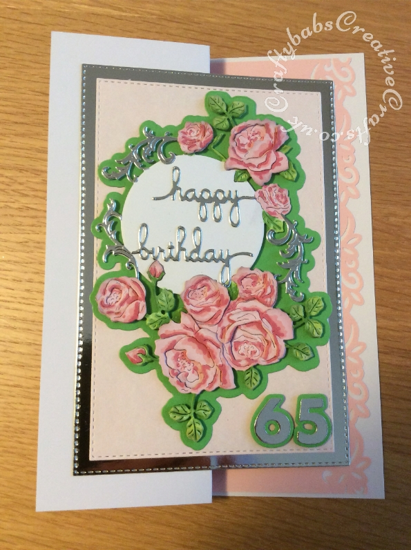 65th Birthday card made using various dies including; Surprise Creations nesting double stitched rectangles dies, Sizzix Sizzlits Fruit Smoothie Alphabet number dies, Tattered Lace Autumnal Hedgerow die set and Spellbinders S2-139 Shapeabilities Sentiments 3 dies.- craftybabscreativecrafts.co.uk