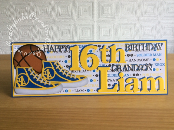 16th Birthday Basketball themed card made using various dies including; sentiment dies from various Tattered Lace 3 Die-mensions die sets, Card Making Magic by Christina Griffiths Upper and lower case alphabet dies and number dies, Cuttlebug® Disney 3x3 Combo Set - Tag Team Sports Balls and Tonic Rococo Kids Canvas Sneaker 1471E die. - craftybabscreativecrafts.co.uk