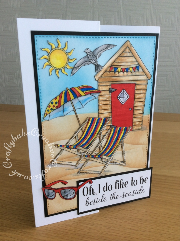 Summer themed birthday card made using free Digi stamp downloads from Craftworld Premium members Club. - craftybabscreativecrafts.co.uk