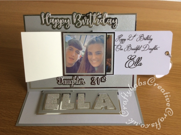 Waterfall easel 21st Birthday card made using various die including Sizzix Originals Shadow box number dies, iCraft Happy Birthday sentiment dies, Paper Boutique female relations dies, Gemini number and suffix dies and nesting circle dies. - craftybabscreativecrafts.co.uk