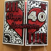 40th Ruby Wedding Anniversary card made using various dies including: Couture Adoring die set, Crealies Alfies 3 alphabet die set, Sizzix Originals shadow box numbers dies and iCraft Happy Anniversary dies. - craftybabscreativecrafts.co.uk