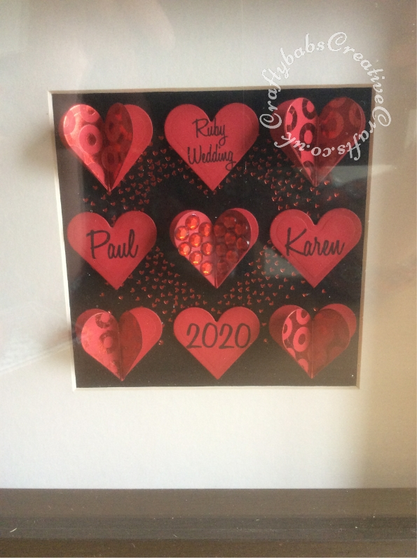 40th Ruby Wedding picture made using Spellbinders nesting hearts dies and various foil press dies in IKea Ribba Box frame - craftybabscreativecrafts.co.uk