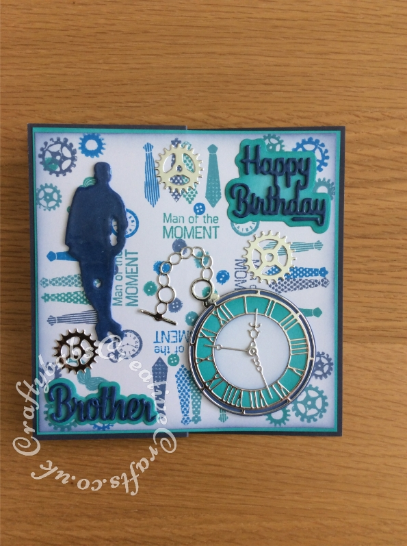 Man of the moment Birthday card made using a variety of male themed stamps for the background and various dies including. unbranded male silhouette die, First edition watch die, Xcut cogs dies and Paper boutique sentiment dies. - craftybabscreativecrafts.co.uk