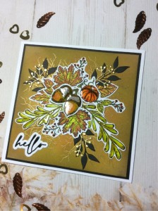 Hello card made using the free Autumn Days stamp set from issue 208 of Simply Cards & Papercraft magazine, Versafine Onyx Black ink, gold embossing powder, spectrum aqua pens, Hunkydory Prism watercolour brush markers, Tim Holtz distress inks, Ranger Glossy accents, altenew leaf die and unbranded sentiment and berries dies. - craftybabscreativecrafts.co.uk