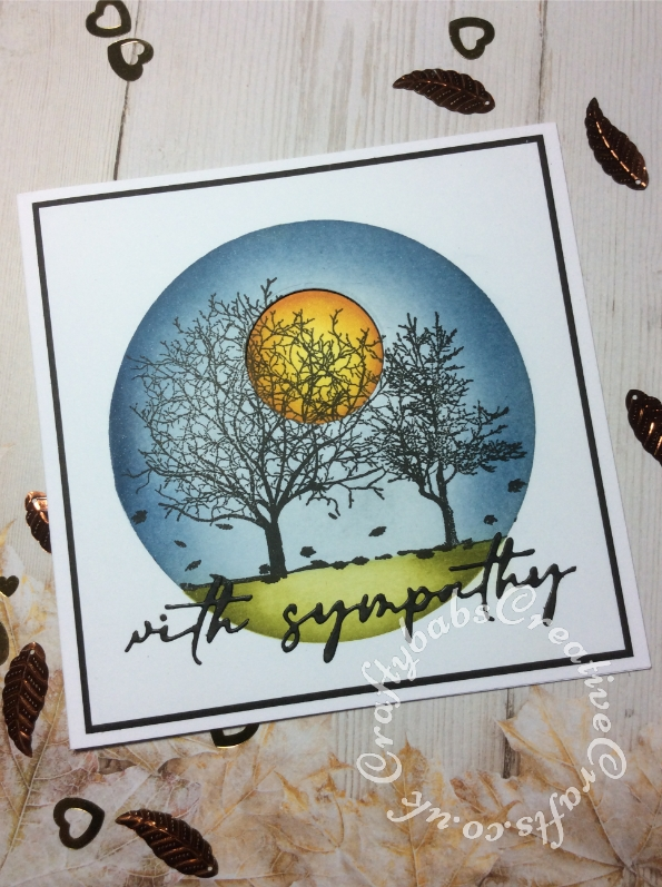 Sympathy card made using the free Autumn Days stamp set from issue 208 of Simply Cards & Papercraft magazine, Versafine Onyx Black ink, Tim Holtz distress inks, Nesting circle dies to cut acetate stencil and sun and unbranded sentiment dies. - craftybabscreativecrafts.co.uk
