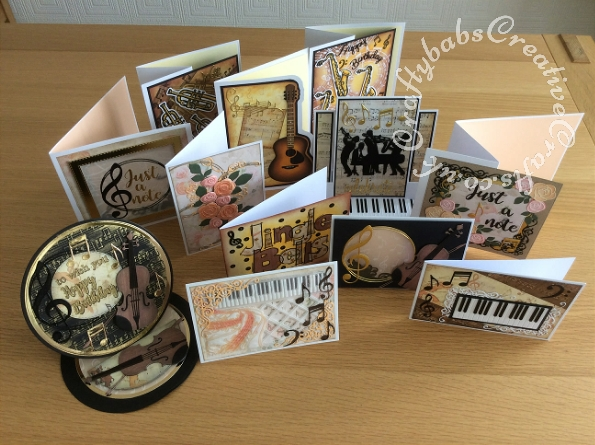 Twelve cards made using the contents of the Papercraft Society Box June 2020 Olga Direktorenko - plus some dies, card blanks, card stock and things from my stash - craftybabscreativecrafts.co.uk
