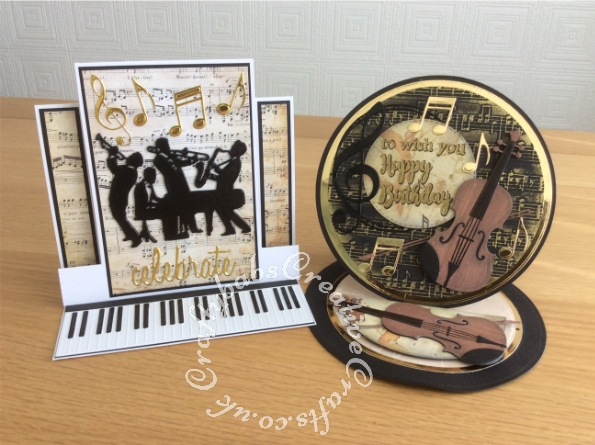 Easel cards made using the contents of the Papercraft Society Box June 2020 Olga Direktorenko - plus - Card blank, black card stock, gold card stock, glossy accents, nesting circles dies, Sizzix Tim Holtz Celebrate die, unbranded jazz band die and pebeo gilding wax. - craftybabscreativecrafts.co.uk