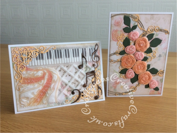 Open cards made using the contents of the Papercraft Society Box June 2020 Olga Direktorenko - plus - Prism watercolour markers, Spectrum Noir sparkle pens, Cosmic shimmer gilding polish, glossy accents, black fine liner pen, Pumice stone distress ink and card blanks. - craftybabscreativecrafts.co.uk