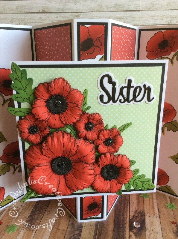 "Poppy themed 8"" x 8"" Pop Out Gate Fold Card made using Heartfelt Creations Blazing Poppy Stamps and matching dies, Heartfelt creations 3D Floral Basics Shaping Mold, SPELLBINDERS CREATE A FLOWER POPPY DIE D-LITES, Spellbinders Foliage dies, Bright Rosa Happy Birthday Sentiment dies, Altenew stamps and dies from the ALTENEW Modern Blooms Magazine kit Issue 1. Sister Sentiment is from The Paper Boutiques female relatives die set. The inside poppy patterned backing was created using the stencil from the Altenew cover gift of Simply Cards & Papercraft magazine Issue 194 . - craftybabscreativecrafts.co.uk"