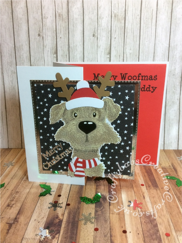 Fun Christmas card for A Pampered Pet Dog made using Clearly Creative Dexter Stamp Set and Matching Clearly Creative Cuts dies plus custom wood die for hat scarf and antlers, Tattered Lace Sentiment dies and Crealies double stitches square dies for silver mat layer. - craftybabscreativecrafts.co.uk