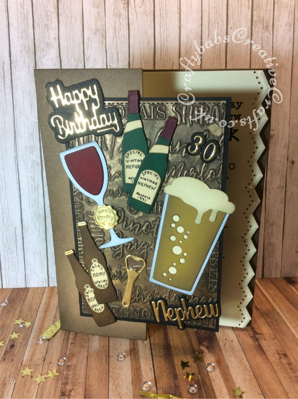 Drinks themed 30th birthday card made using various dies including; Apple Blossom Die Set Beer Bottle & Glass, Apple Blossom Die Set Cheers! Wine Bottles & Glass Set, Apple Blossom Embossing Folder Wine Varieties, By Lene Beer Bottle Cutting & Embossing Die, Paper Boutique sentiment dies and Gemini numbers dies. - craftybabscreativecrafts.co.uk