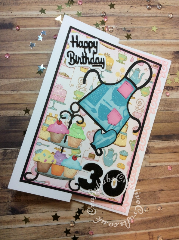 Baking themed 30th birthday card made using patterned papers and various dies including; Paper Boutique sentiment dies, Sizzix Originals Shadow Box Number dies, Sizzix originals Apron & Mitt die and CottageCutz Cupcake Tier die. - craftybabscreativecrafts.co.uk
