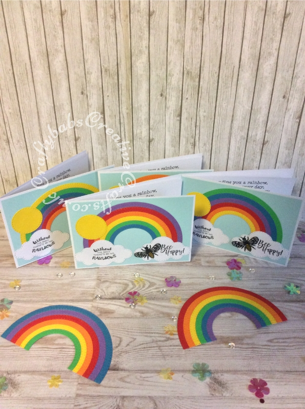Bee Happy cards made using Creative Dies Plus Die Set Stitched Rainbow, Creative Dies Plus Die set Stitched Sky Icons and Bee die & Stamps free with issue 163 of Papercraft Essentials Magazine. - craftybabscreativecrafts.co.uk