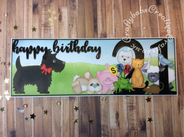 Large Half A4 Landscape Animal themed 21st Birthday card made using a variety of dies including; BRIGHT ROSA DIE SET BIRTHDAY WORDS. Quickutz revolution 4 x 4 Limited Edition Dog die, Quickutz 2 x 2 Blue Bird die, Quickutz 2 x 2 Mouse die, Quickutz 2x2 Frog die, Bosscut Baby Bunnies die, Do Crafts Pampered Pets - Layered Dies Sitting Pretty (Cat) and Pampered Pets layered die Dog, Sizzix originals Sheep #2 die, Sizzix originals Pig#2 die, Sizzix Bigz Sassy Serif Numbers dies, Balloon die from Tattered Lace retail therapy florists set and alphabet from the Marianne Designs Karin Joan's Letter Board set. - craftybabscreativecrafts.co.uk