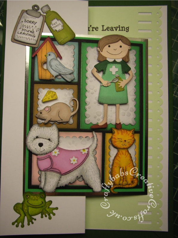 Sorry you're leaving/New Job card made using various dies including: Quickutz Quickutz 2 x 2 Blue Bird die, Quickutz 2 x 2 Mouse die, Quickutz 2x2 Frog die, Quickutz 2 x 2 Bird House die, Do Crafts Pampered Pets - Layered Dies Sitting Pretty (Cat) and Pampered Pets layered die Dog, Taylored expression patchwork dies and Sizzix Sizzlits Die Set 3PK - Get Well Set. - craftybabscreativecrafts.co.uk