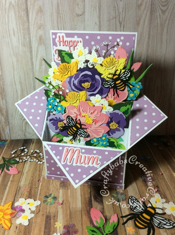 Large Floral Pop Up Box Birthday card made using various dies including: Altenew Jumbo Garden Picks Layering Die Set, Altenew Altenew Garden Picks 3D Die Set, Sizzix Thinlits Die Set 10PK - Floral Layers #664359, Sizzix Thinlits Die Set 4PK - Bee #663852, Altenew Layered Daffodil Die Collection free with issue 188 of Simply Cards & Papercraft, unbranded branch dies and small flowers from the Cheery Lynn Babies breath die set and Paper Boutique female relations Mum and layered happy birthday sentiment dies. - craftybabscreativecrafts.co.uk