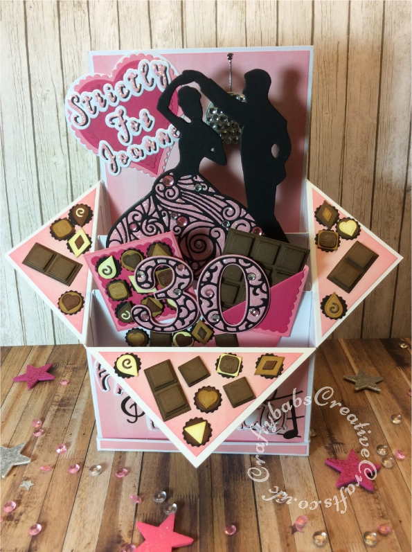 Large Pop Up Box Strictly come dancing and chocolate themed 30th Birthday card made using various dies including: Card Making Magic Die Sets Solid & Overlay Number & Suffix die sets, Crafters companion Gemini Expressions Metal Die - Uppercase and lower case Alphabet die sets, various small nesting square and shape dies for chocolates, Nellie Snellen multi frame nest plain and scalloped heart dies, Memory Box party music die, Sizzix Thinlits happy birthday from the everyday sentiment die set and Intricut Couple Silhouette Die. - craftybabscreativecrafts.co.uk