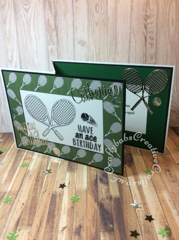 """Tennis themed made using free Digi stamp downloads from Craftworld Premium members Club and Craft Artist Professional Software. and Cheery Lynn Sports Pack Metal Die set , Sizzix Tim Holtz Thinlits Die Set 13PK Celebration Words and Sizzix Thinlits Die Set 69PK - Alphanumeric, Script (1"""" Tall) by Tim Holtz. - craftybabscreativecrafts.co.uk"""