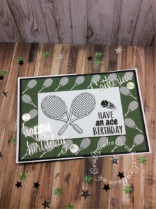 "Tennis themed made using free Digi stamp downloads from Craftworld Premium members Club and Craft Artist Professional Software. and Cheery Lynn Sports Pack Metal Die set , Sizzix Tim Holtz Thinlits Die Set 13PK Celebration Words and Sizzix Thinlits Die Set 69PK - Alphanumeric, Script (1"" Tall) by Tim Holtz. - craftybabscreativecrafts.co.uk"