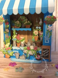 3D Florists shop card made using the Tattered Lace Retail therapy Shop and florists die sets and the Retail therapy CDRom. - craftybabscreativecrafts.co.uk