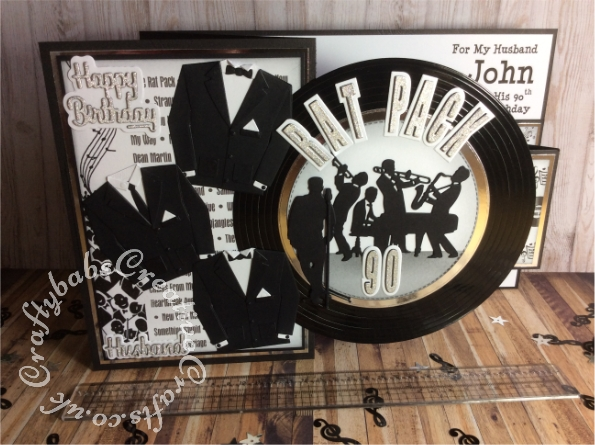 Large A4 Z Fold Rat Pack themed 90th Birthday card made using a stamped and printed background and various dies including Unbranded Jazz band die, unbranded male die, Microphone die from the Paper Discovery Die Set The Jazz Band Set of 8, Crealies Alfies die set no. 3, Capital letters and shadows, Crealies Journalzz & Plannerzz Die CLJP609 Numbers with Shadows, Marianne Design Collectables Men's Wardrobe Die, CREATIVE DIE SET 8IN X 8IN NESTED CIRCLES and Paper Boutique sentiment dies. - craftybabscreativecrafts.co.uk
