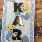 New Baby birth card made using various dies including Sizzix Originals Shadow Box Alphabet dies, unbranded alphabet dies, Hunkydory Moonstone simply sentiments dies and relatives dies and Marianne Design Collectables Cutting Dies Eline's Babies Col1479 - craftybabscreativecrafts.co.uk