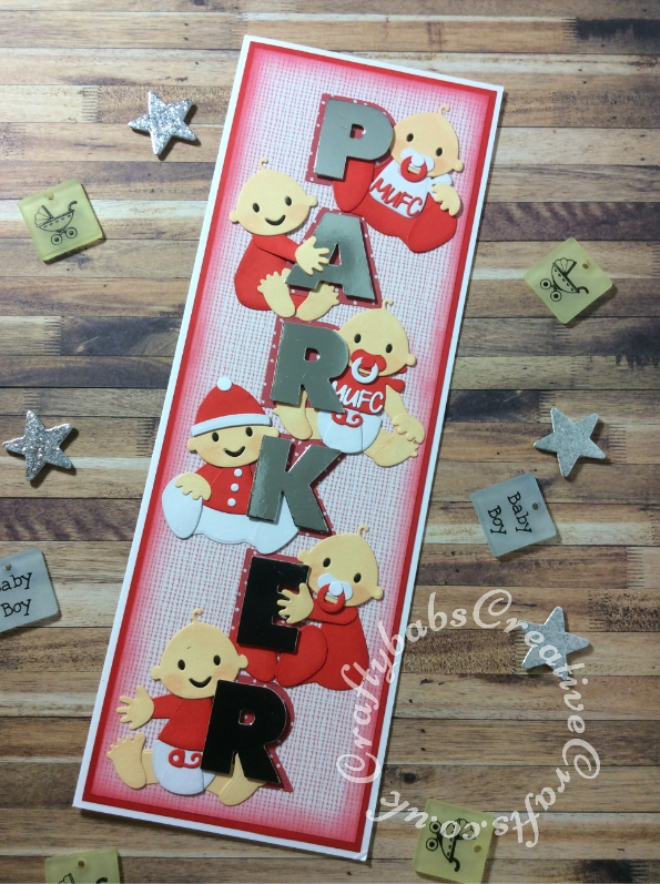 New Baby birth card made using various dies including Sizzix Originals Shadow Box Alphabet dies and Marianne Design Collectables Cutting Dies Eline's Babies Col1479 - craftybabscreativecrafts.co.uk