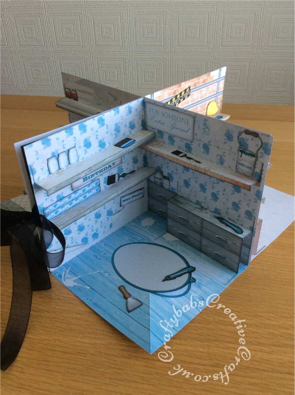 Fun fold out 3D scenic DIY themed card made using Debbie Moore Designs Tools Of The Trade and Through The Window Shabby Chic CD Rom. - craftybabscreativecrafts.co.uk